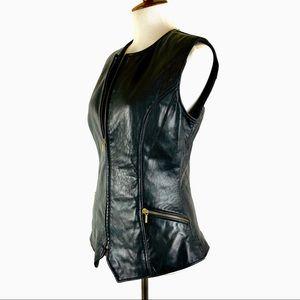 Black leather biker vest buttery soft S
